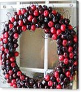 Christmas Cherry Wreath Acrylic Print