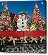 Christmas Snowman On Rails Acrylic Print
