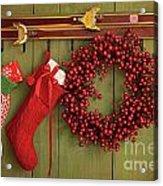Christmas Stockings And Wreath Hanging On  Wall Acrylic Print