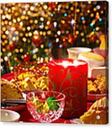 Christmas Table Set Acrylic Print by Carlos Caetano