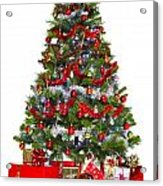 Christmas Tree And Presents Isolated On White Acrylic Print