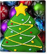 Christmas Tree Cookie With Ornaments Acrylic Print