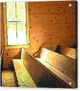 Church Pews - Light Through Window Acrylic Print