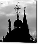 Church Spires Silhouetted Bw Acrylic Print