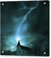 Church Struck By Lightning Acrylic Print