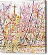 Church With Palm Trees Acrylic Print