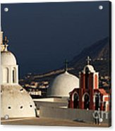 Churches In Fira Greece Acrylic Print