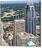 Cincinnati Panorama Aerial Skyline Downtown City Buildings Acrylic Print by Paul Velgos
