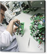 Circuit Board Assembly Work Acrylic Print by Ria Novosti
