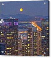 City And Moon Acrylic Print