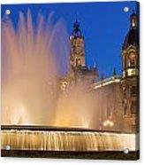 City Hall And Fountain At Dusk Acrylic Print
