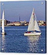 City Harbor Sailing Acrylic Print