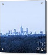 City In The Distance Blue Tint Acrylic Print