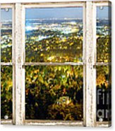 City Lights White Rustic Picture Window Frame Photo Art View Acrylic Print