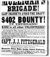 Civil War: Broadside, 1863 Acrylic Print