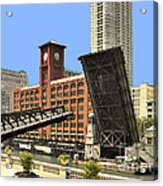 Clark Street Bridge Chicago - A Contrast In Time Acrylic Print by Christine Till