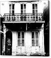 Classic French Quarter Residence New Orleans Black And White Conte Crayon Digital Art Acrylic Print