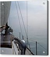 Classic Wooden Sailboat With No Horizon Off The Bow Acrylic Print