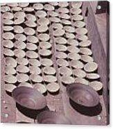 Clay Yogurt Cups Drying In The Sun Acrylic Print by David Sherman