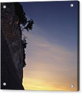 Cliff Silhouette At Sunset, Jasmund Acrylic Print
