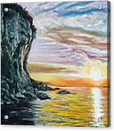 Cliff Sunset Acrylic Print by Peter Jackson