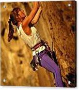 Climber Heidi Badaracco Leads A Route Acrylic Print