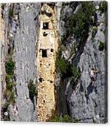 Climber Near Prehistoric Cliff Dwelling Acrylic Print