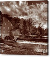 Clinton Red Mill House Sepia Acrylic Print