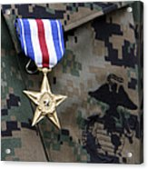 Close-up Of A Medal On The Uniform Acrylic Print