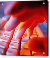 Close-up Of A Person Typing On A Computer Keyboard Acrylic Print