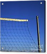 Close-up Of A Volleyball Net Abandoned. Acrylic Print by Bernard Jaubert