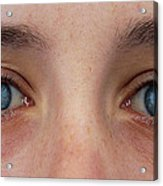 Close-up Of A Woman's Blue Eyes Acrylic Print