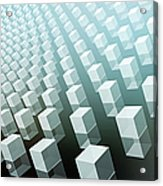 Close-up Of Cubes On Black And Blue Acrylic Print by Ralf Hiemisch