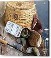 Close-up Of Fishing Equipment And Hat  Acrylic Print