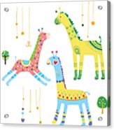Close-up Of Giraffes Acrylic Print