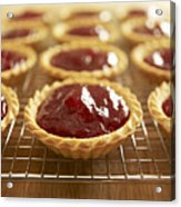 Close Up Of Jam Tarts Cooling On Wire Rack Acrylic Print