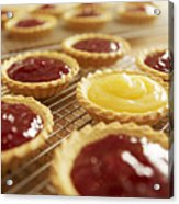 Close Up Of Jam Tarts Cooling On Wire Racks Acrylic Print