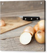 Close Up Of Onions And Knife On Table Acrylic Print
