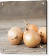 Close Up Of Onions On Table Acrylic Print