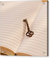 Close Up Of Open Notebook With Key, Studio Shot Acrylic Print