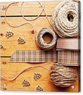 Close Up Of Ribbon, String And Shapes Acrylic Print