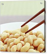 Close Up Of Soybean In Bowl With Chopstick Acrylic Print by Imagewerks