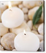 Close Up Of Tea Lights And Green Leaf On Pebble Stones, Studio Shot Acrylic Print