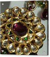 Close Up Of The Gold And Diamond Setting Of A Large Necklace Acrylic Print by Ashish Agarwal