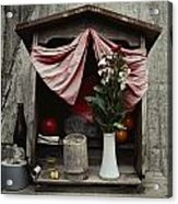 Close View Of A Shrine With Oferings Acrylic Print by Sam Abell