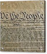 Close View Of The Us Constitution Acrylic Print by Kenneth Garrett