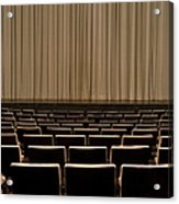 Closed Curtain In An Empty Theater Acrylic Print by Adam Burn