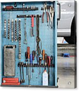 Closeup Of A Variety Of Tools On A Blue Acrylic Print by Corepics