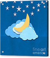 Cloud Moon And Stars Design Acrylic Print
