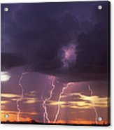 Cloud To Ground Lightning At Sunset Acrylic Print